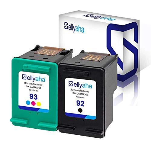 Sellyaha 92& 93 C9362WN C9361WN Remanufactured Ink Cartridge Replacement Printer Ink for HP Deskjet 5420 5420v 5440 5440v 5440xi 5442 5443 Photosmart 7850 C3100 C3110 (1 Black + 1 Color (Hp Ink 92 93)