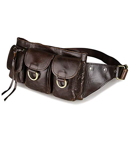 Tom Clovers Women's Men's Leather Waist Pack Belt Pouch Fanny Bag Hip Purse ()