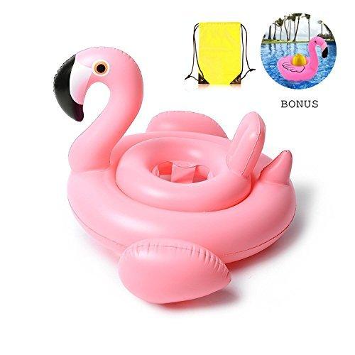 Whiteleopard Baby Pool Float Inflatable Rafts Swim Ring Swimming Pool Toys for Kids- Bonus Carry Bag & Flamingo Drink Float