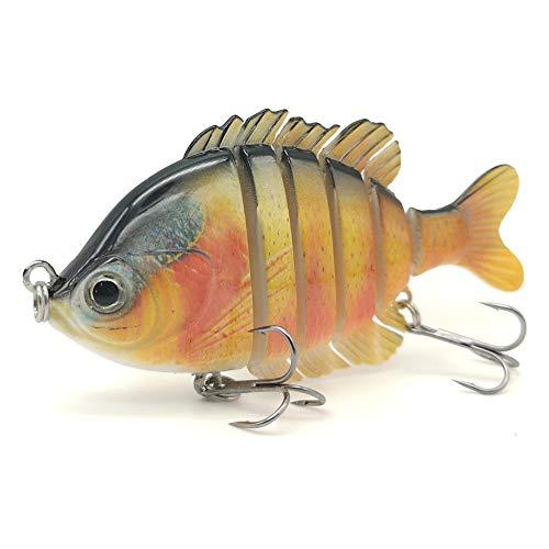 DUDOU Fishing Lures for Bass Multi Jointed Panfish Bluegill Swimbaits Hard Topwater Sunfish Lure Trolling Lifelike 3.5