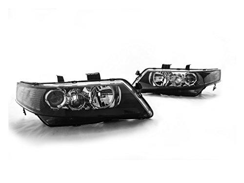 04-08 Acura TSX JDM Style Projector Headlights - Black w/Smoke Reflector (2004 2005 2006 2007 2008) - Jdm Style Black Headlights