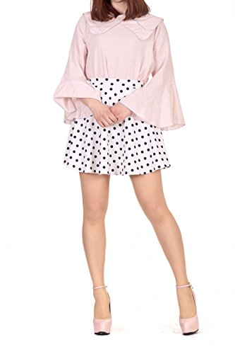 Pinup Polka Dot A line Full Flared Circle Skater Mini Skirt (XL, Ivory) (Polka Dot Mini Skirt)