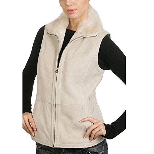 BGSD Women's Sheepskin Shearling Vest with Toscana Fur Trim - Medium