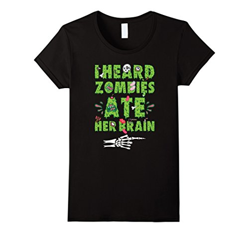 His And Her Zombie Costumes (Womens Zombies Ate Her Brain Halloween T Shirt - His and Hers Medium Black)