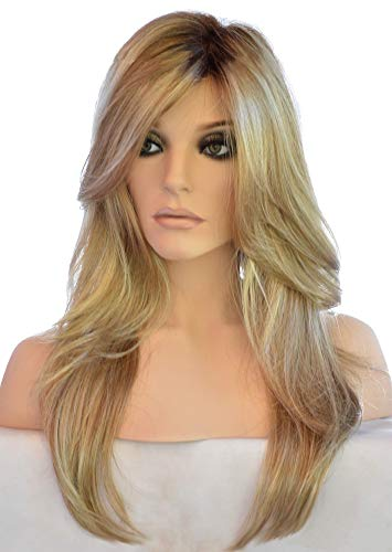 Auflaund Long Curly Blonde Wig – 24 Inches Premium Natural Hair Replacement Sleek Style Wavy Wigs for Women Soft As Real…