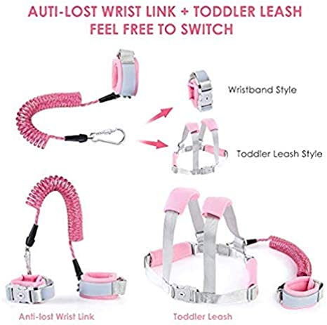 Children Harness Belt Adjustable 2.5M,Baby Toddler Reins Safety Strap Leash Walking 1SourceTek Baby Anti Lost Safety Wrist Link Backpack Belt Pink-2.5m