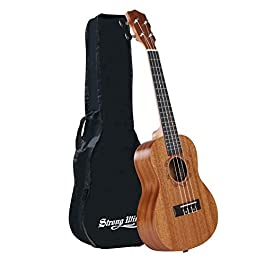 Concert Ukulele 23 Inch Mahogany Ukulele Starter Uke kids Guitar Kit for Kids Beginners Adults Student with Gig Bag
