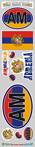 (Armenia 10 Stickers Set Armenian Flag Decals Bumper stiker car auto Bike Laptop)