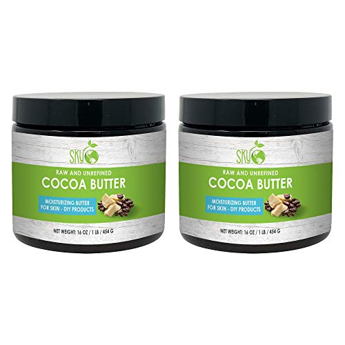 Unrefined Cocoa Butter (16 oz x 2 Pack) 100% Pure Raw Cocoa Butter – Skin Nourishing, Moisturizing & Healing, for Dry…