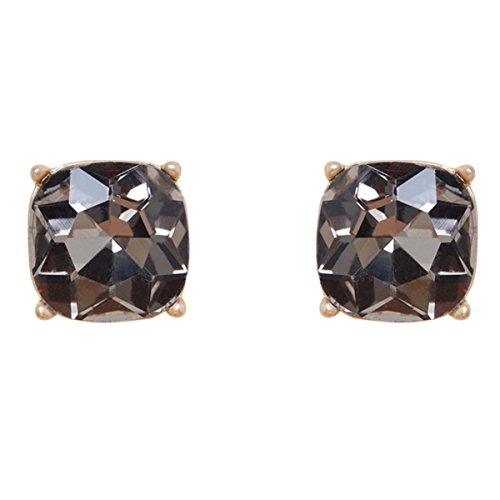 (Humble Chic Faceted Square Stud Earrings - Large Cushion Cut Statement Post Ear Studs .57
