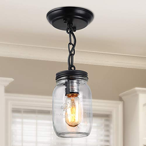 LNC Flush Mount Ceiling Light Fixture,Farmhouse Mason Jar Pendant A03220, Single