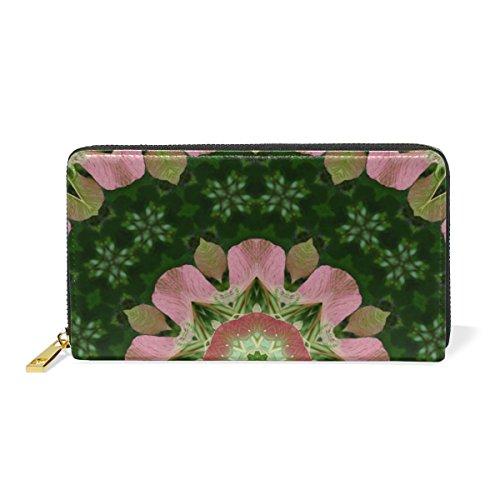 Organizer And And Flower Clutch Around Purses Green Pink Wallet Zip Womens TIZORAX Mandala Handbags ZxS5z8w5q