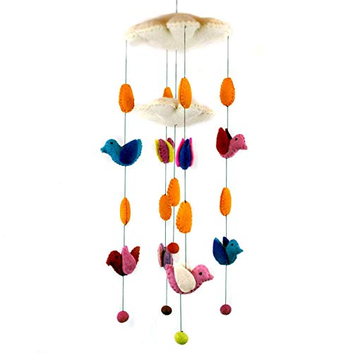 Multi-Colored Birds and Clouds Theme - Hanging Baby Nursery Decor Crib Mobile - Handmade !00% Natural Felted Wool (Orange) ()