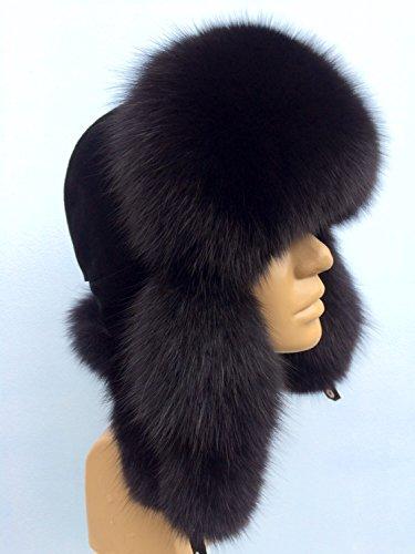 (Blue Fox Fur Ushanka Hat Black Color With Suede Saga Furs Men's)