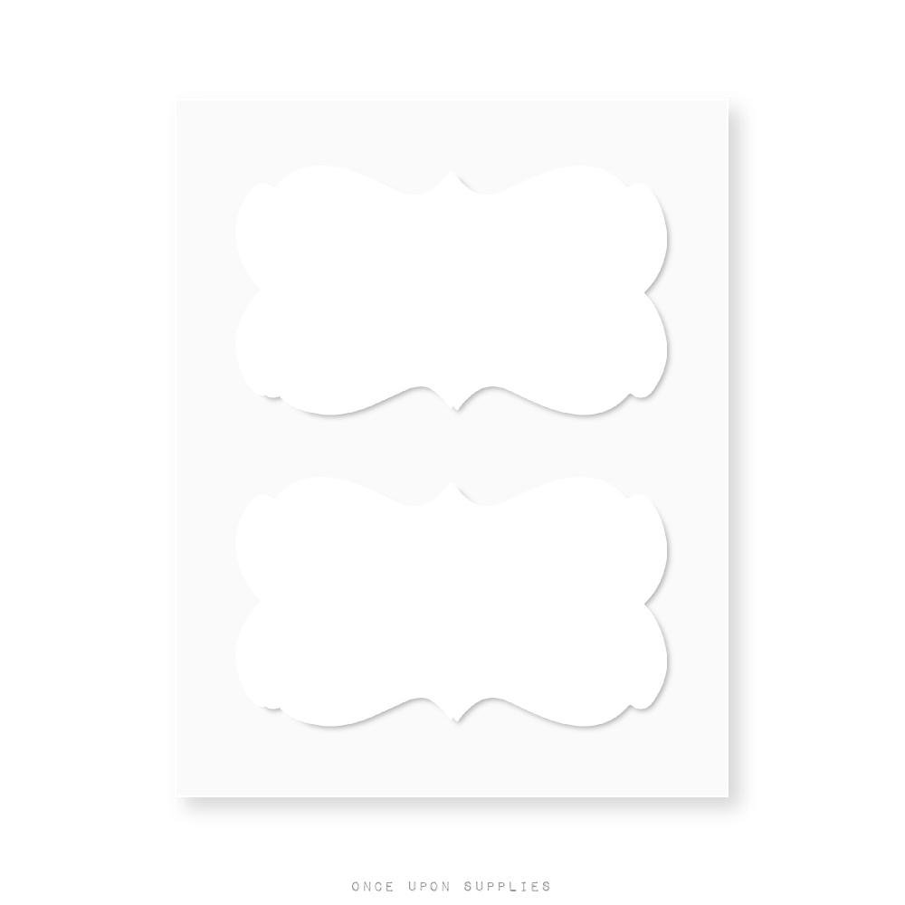 Ornate Border Fancy Frame Decorative White Labels by Once Upon Supplies, Adhesive Stickers for Labeling Storage Jars, Boxes, Files and More, 2-1/4'' x 1-1/4'', 36 Labels