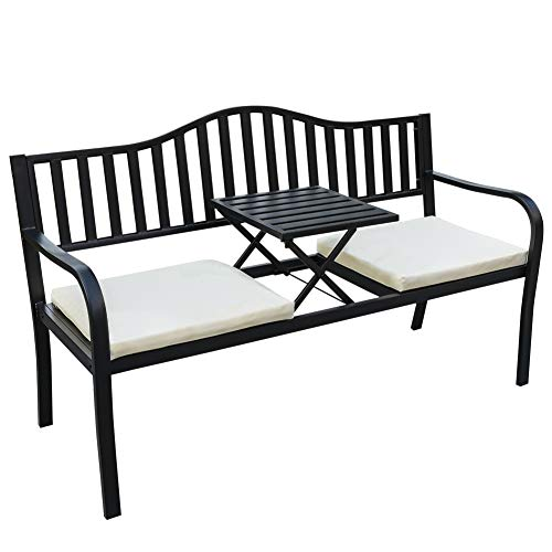 Sundale Outdoor Deluxe Cast Iron Steel Frame Patio Park Garden Bench Chair with Middle Table for Two Person, ()