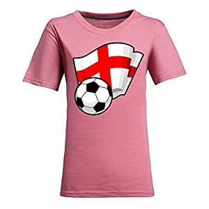Custom Womens Cotton Short Sleeve Round Neck T-shirt with Flags,2014 Brazil FIFA World Cup Soccer Flags Pink