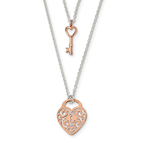 925 Sterling Silver Rose Tone Heart Lock Key 16 Inch Chain Necklace Pendant Charm S/love Multi Layer Fine Jewelry Gifts For Women For Her ()