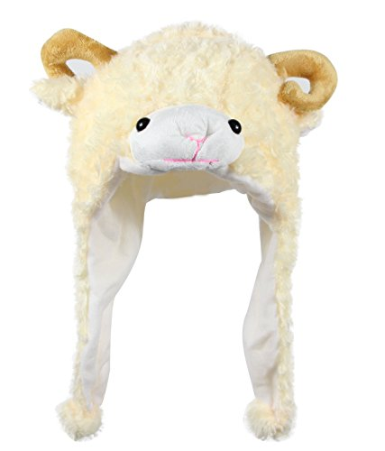 Bioterti Plush Fun Animal Hats –One Size Cap - 100% Polyester with Fleece Lining (Beige Sheep) -