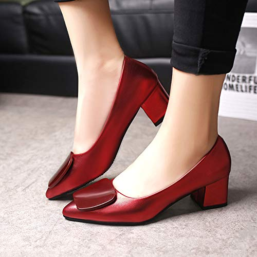 Yukun zapatos de tacón alto Zapatos De Otoño Solos Zapatos De Mujer Solos Gruesos con Zapatos Puntiagudos Boca Sólida De Colores Sólidos para Mujeres Gun Color
