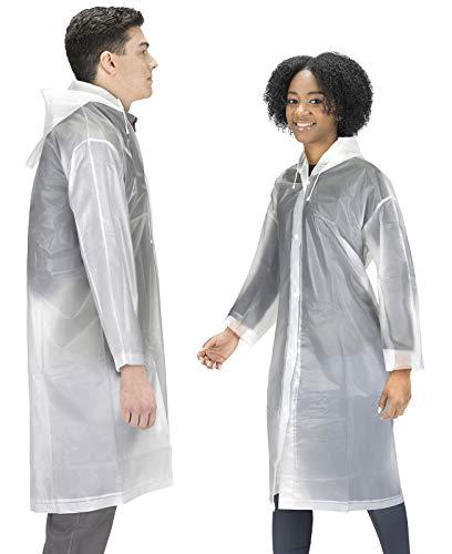 Rain Coats (2 Pack) - EVA Rain Poncho for Women and Men, Reusable Raincoat