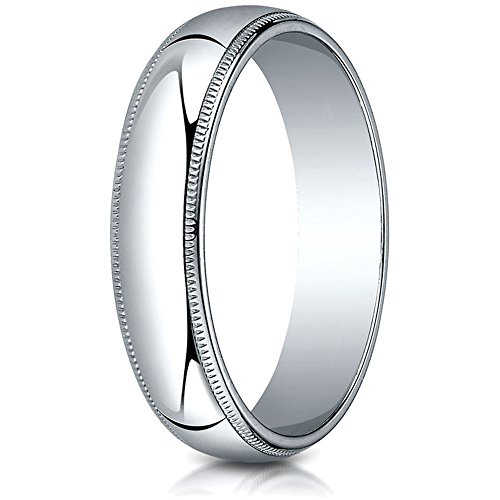 Platinum 5mm Slightly Domed Traditional Oval Wedding Band / Ring with Milgrain Size 9.5 (Platinum Band Domed Milgrain Wedding)