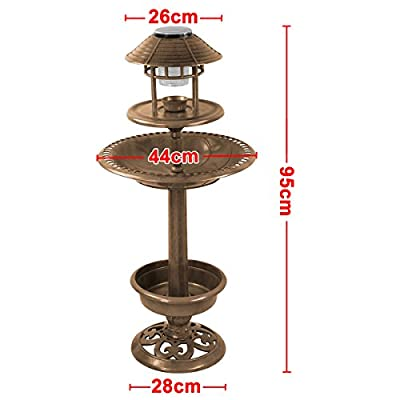 go2buy Bronze Bird Table Feeder House with Solar Light and Planter from go2buy