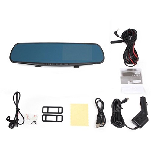 4.3 inch 1080P Dash Cam Dual Lens FHD Rearview Mirror Cam Car DVR Video Recorder with 170-degree Wide Angle Lens, Car Video Camera with G-Sensor, Loop Recording