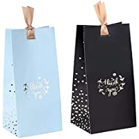 10 Mixed of Blue and Black Thank You Gift Bags with Ribbon (Large)