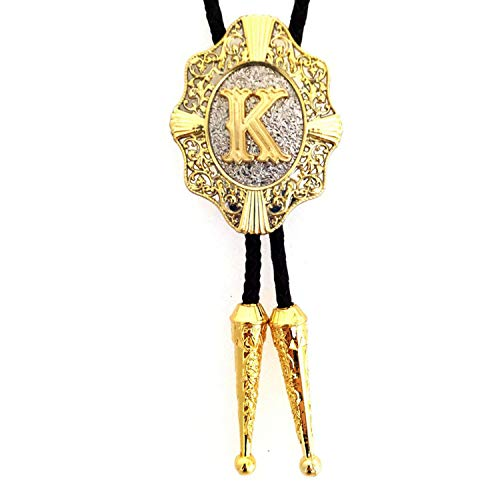 JIA-WALK Gold Silver Color Letter A to Z Rodeo Tie for Men Western Cowboy Southwest Tie Males Accessories,K