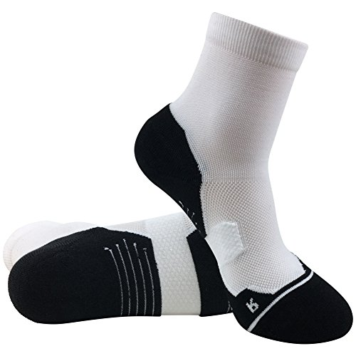 Tennis Quarter Compression Socks HUSO Light Weight Comfort Quick Wicking Anti-Odor Socks for Men Youth, White (Lightweight Nylon Sport Socks)