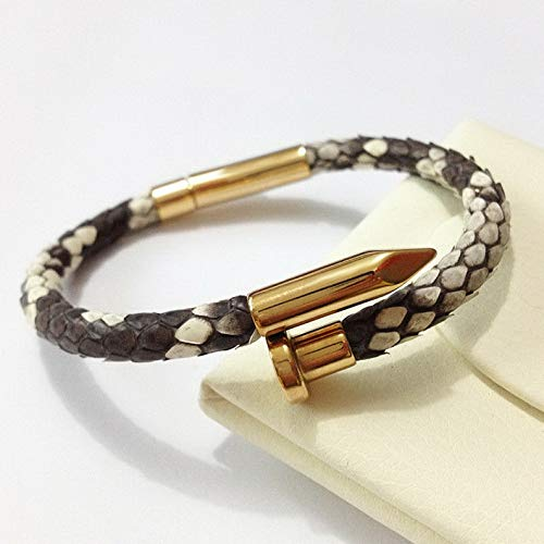 Necklace Phiten Braid - Mikash Luxury 6mm Real Snake Skin Python Leather Stainless Steel Nail Bracelet for Men | Model BRCLT - 11288 | 19cm