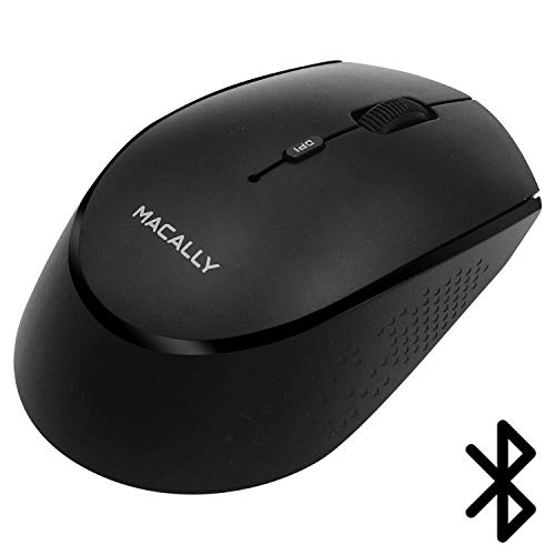 Silver Mouse Optical Wireless Rf (Macally Wireless Bluetooth Mouse - Long Lasting Rechargeable Mouse, Easy Cordless Travel - Compatible with BT Devices: Apple Mac Mini iMac MacBook Pro Air Laptop, Windows Desktop PC Computer - Black)