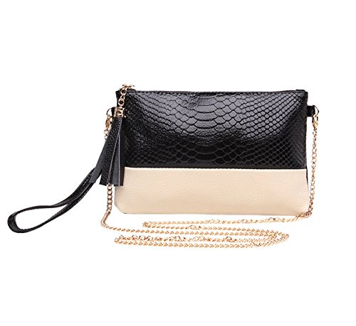 KISS GOLD(TM)Bicolour Snake Skin Print Synthetic Leather Wrist Bag Wristlet (Black&White) (Synthetic Print Leather)