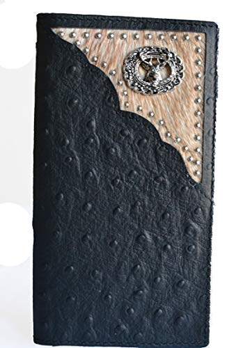 Genuine leather ostrich animal print deer hair fur bifold long wallet (black)
