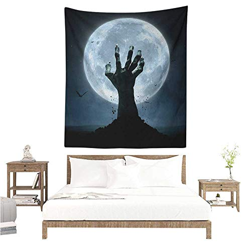 WilliamsDecor Dormitory Decorated Sand Tapestry Halloween Realistic Zombie Earth Soil Full Moon Bat Horror Story October Twilight Themed 51W x 60L INCH Suitable for Bedroom Living Room Dormitory