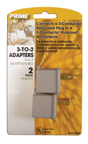 (Prime Wire & Cable PBAD3200 3-to-2 Adapter, Gray, 2-Pack)