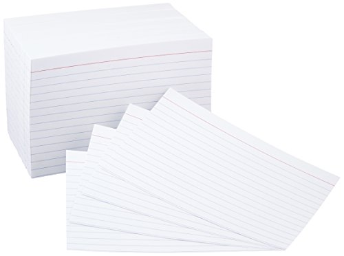 AmazonBasics 4 x 6-Inch Ruled Lined White Index Note Cards, 500-Count