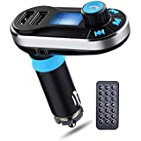 Fm Transmitter Handsfree Bluetooth for Car Radio Transmitter Mp3 Player with Dual USB Remote Control for iPhone 6 6s 5s 6 Plus Samsung Galaxy S7 S6 S5 Tablet LG G4 5 HTC - BSR International (Silver)