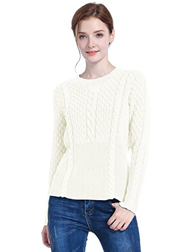 v28 Women's Cotton Cable Knitted Crew-Neck Casual Long Sleeves Pullover Sweater (S, Creamy White) ()