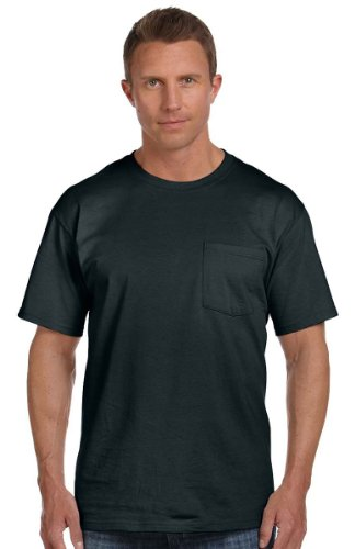 Fruit of the Loom 100% Heavy Cotton HD Pocket T-Shirt, XL, Black