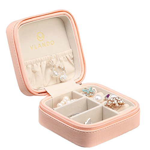 Accessories Jewelry Box (Vlando Small Faux Leather Travel Jewelry Box Organizer Display Storage Case for Rings Earrings Necklace (Pink))
