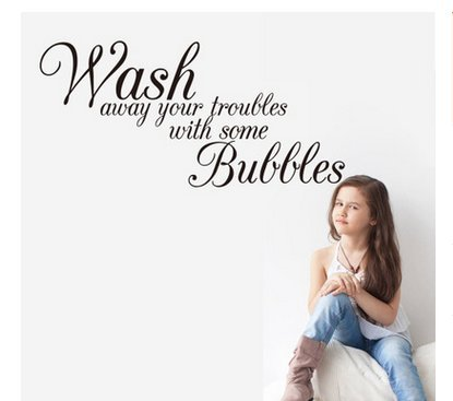 Edtoy Wash Away Your Troubles Bathroom Bedroom Quote PVC Wall Art Decal Sticker Black