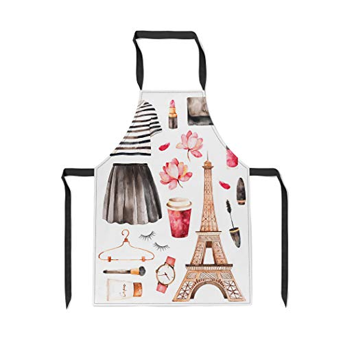 Pinbeam Apron Watercolor Paris Handpainted Striped Top Cosmetics Tour Eiffel with Adjustable Neck for Cooking Baking ()