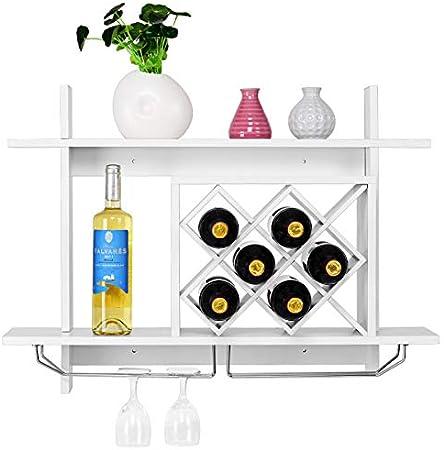 GIANTEX-Soporte Para Copas de Vino Multifunción de Madera Montado en la Pared, Pueden Utilizar Para Decoración, Almacenamiento de Botellas de Vino y Copas de Vino, Blanco