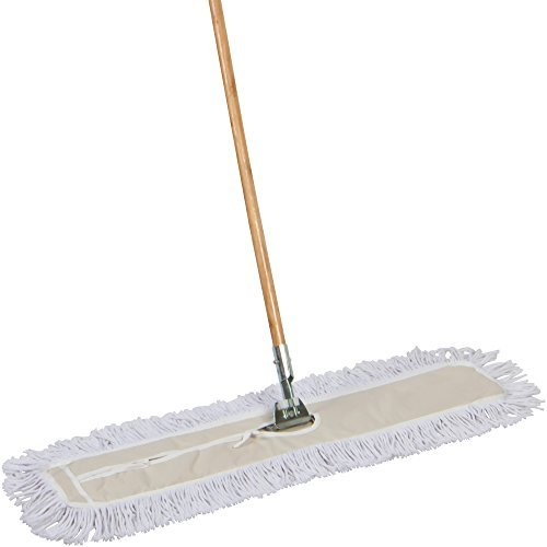 (Tidy Tools Industrial Strength Cotton Dust Mop With Solid 63'' Wood Handle and Metal Frame. 35'' X 5'' Wide Cotton Mop Head  )