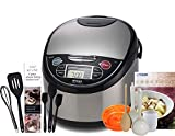 Tiger JAX-T10U-K (5.5 Cups Uncooked/11 Cups Cooked) Micom Rice Cooker with Food Steamer & Slow Cooker, Stainless Steel Black & Zonoz 8-Inch Rice Paddle/Wooden Stirring Spoon Bundle