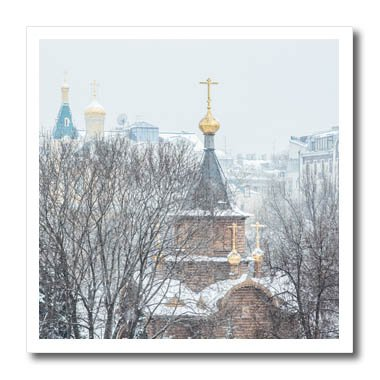 3dRose Alexis Photography - Moscow City - Moscow winter. Chapel of the Sovereign Icon of the Theotokos - 10x10 Iron on Heat Transfer for White Material (ht_267151_3) (Sovereign Tee)