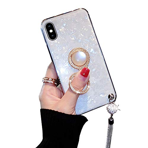 BONTOUJOUR iPhone 7 Plus/iPhone 8 Plus case, Luxury Glitter Pearly-Lustre Shell Pattern Soft TPU Cover Case Sparkle Bling Crystal Back with Tassel +Pearl Diamond Ring Holder - White