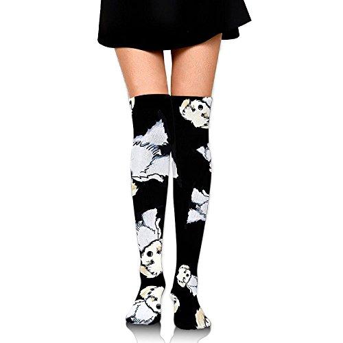 Maltese Puppy Dog Cartoon Women Fashion Over The Calf Socks Stockings by T Socks